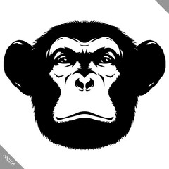 black and white linear paint draw monkey vector illustration