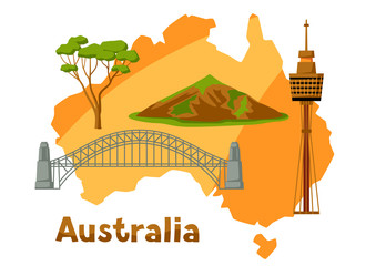 Illustration of Australia map with tourist attractions.