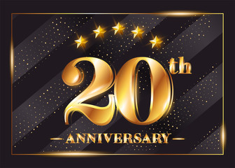 20 Years Anniversary Celebration Vector Logo. 20th Anniversary Gold Icon with Stars and Frame. Luxury Shiny Design for Greeting Card, Invitation, Congratulation Card. Isolated on Black Background.