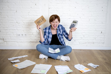 crazy stressed woman with calculator and bank and bills paperwork and documents doing domestic financial accounting