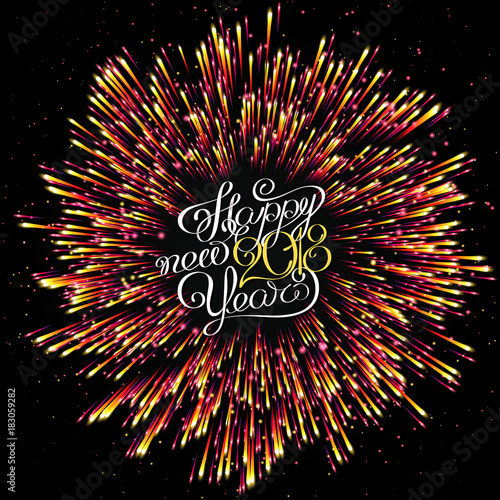 happy new year 2018 christmas explosion of fireworks and golden salute lights shimmering