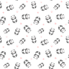 Seamless Cute Cartoon Panda Face Pattern