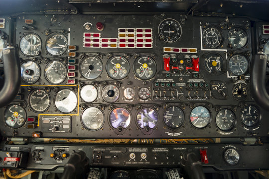Contol panel on an airplane