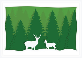 Illustration, greeting card, green spruce and deer.