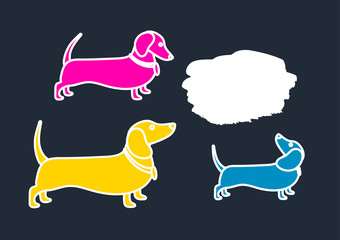 Color template of silhouettes of dachshunds. Vector illustration, background.
