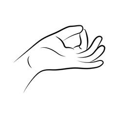 Hand in yoga mudra. Prithvi-Mudra isolated on white background. Vector illustration