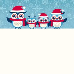 cute owls christmas seasonal illustration