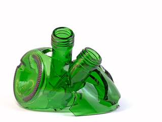 Zerbrochene Glasflaschen, Recycling