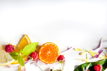 Selected fruit frame on white background