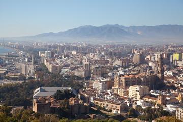 Spanish architecture on skyline of Malaga