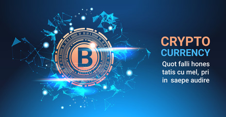 Crypto Currency Bitcoin On Blue Background Digital Web Money Modern Technology Banner With Copy Space Vector Illustration
