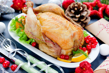 Whole baked chicken for christmas dinner