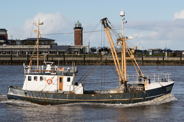fishing vessel leaving the port of Cuxhaven, Germany