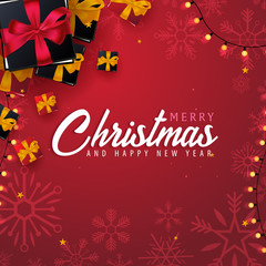 Marry Christmas and Happy New Year banner on red background with snowflakes and gift boxes. Vector illustration.