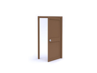 abstract wood door 3d rendering white background