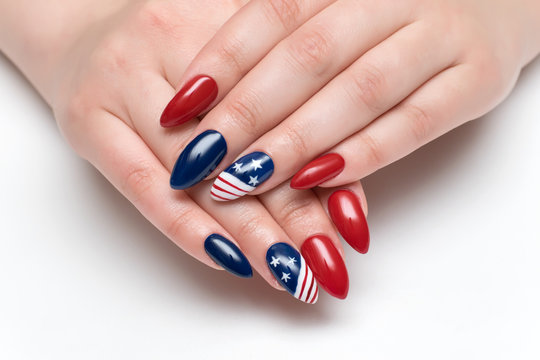 Red blue nails with a design American flag on long sharp nails