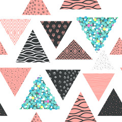 Abstract Memphis Seamless Pattern with Geometric Shapes. Hipster Background with Triangles. Vintage 80s 90s Design for Fabric, Poster, Cover. Vector illustration