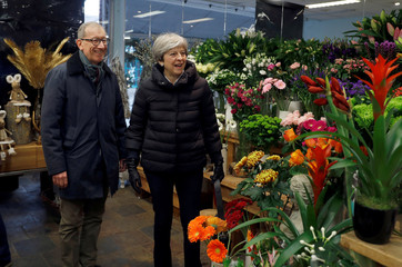 Britain's Prime Minister, Theresa May, and her husband Philip visit VFB The Florist on Small Business Saturday, in Twyford