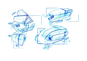 Sketch electric city car inspirated by cubism. It is colou ilustration sutable for young people. Its very simply clever small and smart car.