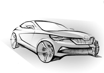 This is realsitic paniting sketch of sepia colour car. The car is concept sketch with dinamics lines.