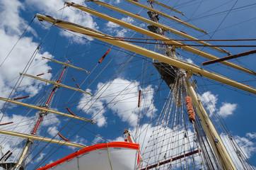 SAILING SHIP - Masts of a sailing ship against the sky