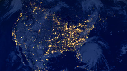 Spoed Foto op Canvas Nasa United States of America lights during night as it looks like from space. Elements of this image are furnished by NASA