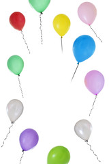 Vertical image of Balloons of different colours flying on white background with copy text in the middle