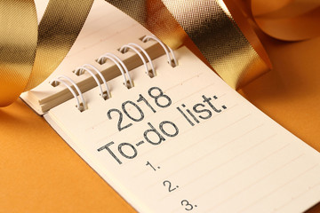 To do list 2018 with gold decoration.