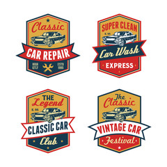 Set of Colored Old Retro Style Vintage Classic Car Vector Logo, Badge, Emblem, Icon, Sticker. Car Wash, Workshop Repair, Service, Community, Club, Car Show, Exhibition, Festival Element