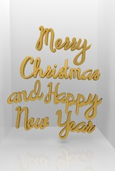 Merry Christmas and Happy New Year 3D text