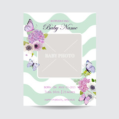 Baby Shower Invitation Template with Photo Frame, Flowers and Butterflies. Floral Wedding Card Design. Vector illustration