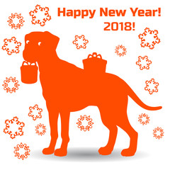 Symbol of the year, orange dog holding a gift in the teeth, cartoon on a white background,