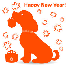 Symbol of the year, orange dog silhouette holding a gift in the teeth, cartoon on a white background,