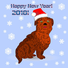 Symbol of the year, dog in santa claus cap (greeting card), cartoon on blue background with snowflakes