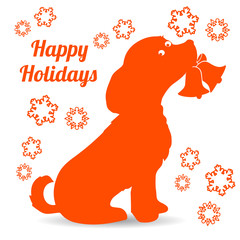 Symbol of the year, orange dog silhouette holding a bell in the teeth, cartoon on a white background,