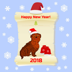 Symbol of the year, dog in santa claus cap and gifts, on parchment paper (greeting card) cartoon on blue background with snowflakes,