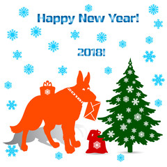 Symbol of the year, silhouette orange dog (german shepherd) holding an envelope in the teeth, cartoon on a white background where there is a Christmas tree and gifts,