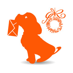 Symbol of the year, orange dog silhouette holding an envelope in the teeth, cartoon on a white background,