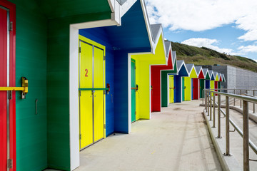 Colorful Beach Huts at Barry Island, Wales, UK