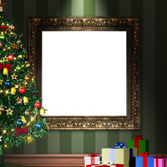 mock up 3d vintage frame with decorative christmas tree and gift packages