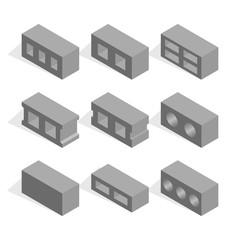 Set of isometric cinder blocks, vector illustration.