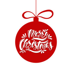 Merry Christmas. Handwriting script lettering. Holiday typography design in shape ball. Christmas greeting card.