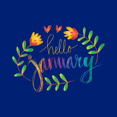 Hello January hand lettering calligraphy.
