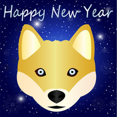 Cartoon sketch - cute husky with blue eyes - a symbol of the new year 2018. A beautiful idea for a greeting card - a dog, close-up on a blue gradient background with a snow pattern