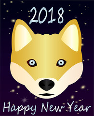 Greeting card-Happy New Year, 2018. Beautiful chhoda symbol Nice Husky with blue eyes...