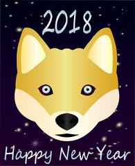 Greeting card-Happy New Year, 2018. Beautiful chhoda symbol Nice Husky with blue eyes...