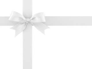 white ribbon with bow isolated on white background, simplicity decoration for add beauty to gift box and greeting card, flat lay close-up top view
