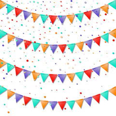 Bunting flags. Impressive celebration card. Bright colorful holiday decorations and confetti. Bunting flags vector illustration.