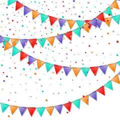 Bunting flags. Immaculate celebration card. Bright colorful holiday decorations and confetti. Bunting flags vector illustration.