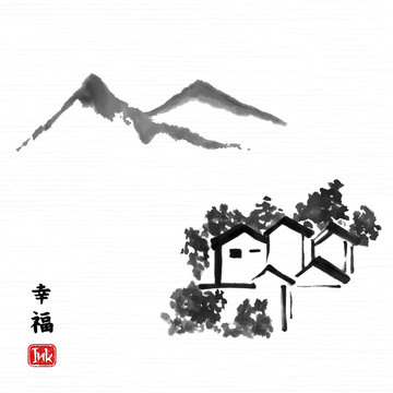"""Traditional asian ink art with houses and mountain landscape. Hieroglyph """"happiness"""". Vector art illustration."""